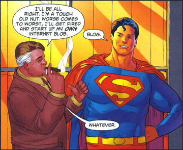 Perry White and Superman chatting about the internet and blogging, from Superman #706, p.24