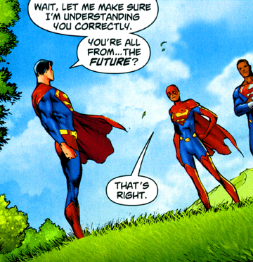 Superman first meets the Superman Squad, from Superman #708, p.1