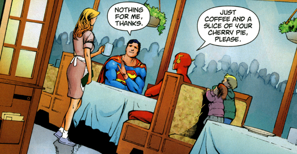 Superman and the Flash in a restaurant having coffee and cherry pie, from Superman #709, p.13