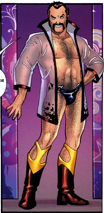 Vartox dressed up, over the top, like some extreme, sexual animal to seduce Power Girl to mate with him, from Power Girl #8, p.8.