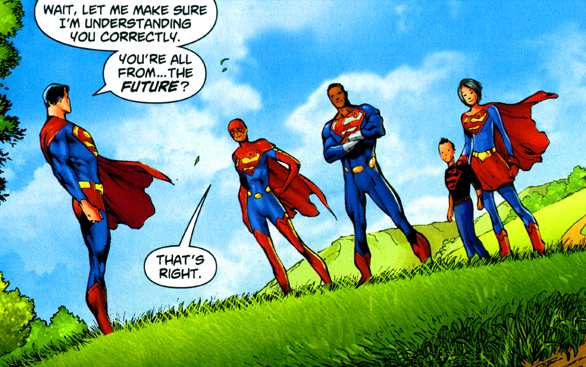 Superman first meets the Superman Squad, with Lisa Jennings. Straczynski's Grounded series. From Superman #708, p.1.