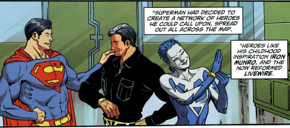 Superman forming the Hero Network and giving signal watches to Iron Munro and Livewire. Straczynski's Grounded series. From Superman #714, p.25.
