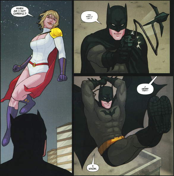 Power Girl and Batman having a brilliant few moments together, from Power Girl #26, p.12