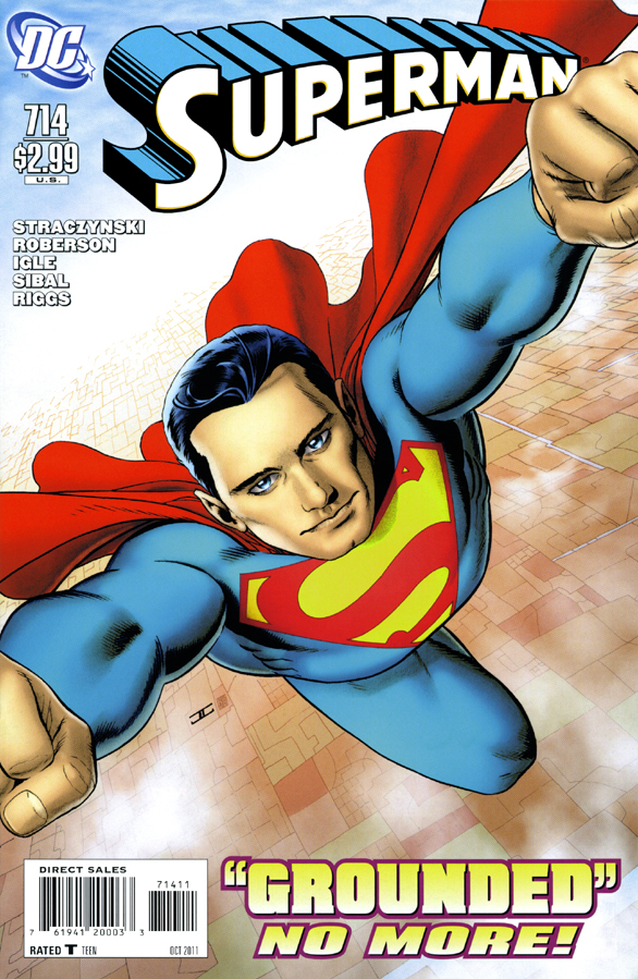 The cover of Superman #714. Straczynski's Grounded series.